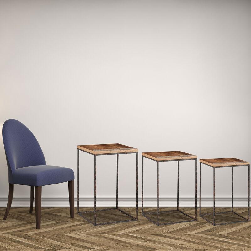 Beistelltisch 3er Set Mangoholz Metall Stilmix Wohnzimmer Satztische In Versch Grossen Braun Schwarz