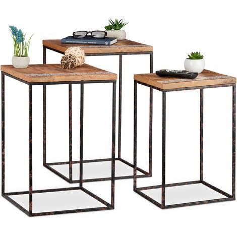 Beistelltisch 3er Set Mangoholz Metall Stilmix
