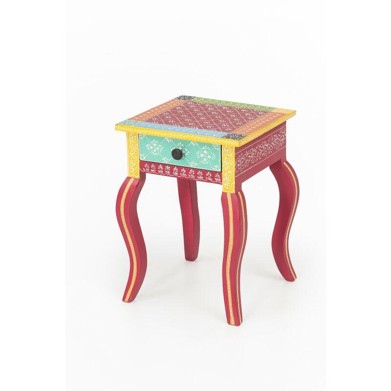 Beistelltisch India Akazie massiv Handarbeit Tisch Nachttisch Nachtschrank bunt A00000330 - INDEX-LIVING