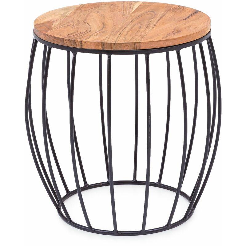 Beistelltisch Korb Holz Couchtisch Holztisch Metall Wohnzimmertisch Tisch A00000597 - INDEX-LIVING
