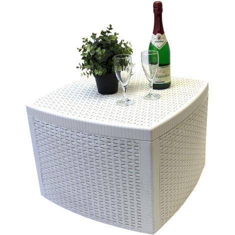 Beistelltisch Naxos, Rattan-Optik, Kunststoff, Weiß, 53x53cm, inkl. Stauraum - Gartentisch Teetisch