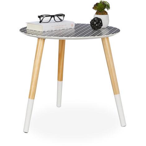 Holztisch niedrig Relaxdays Beistelltisch rund schwarz//wei/ß//Natur HxD 40,5x40cm dekoratives Muster Dreibein Tisch
