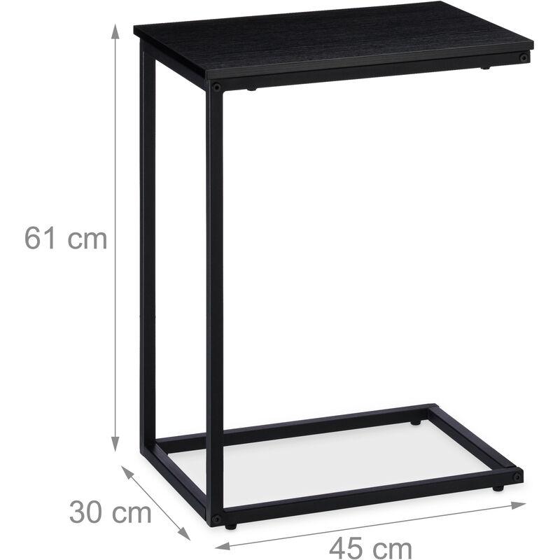 Beistelltisch Schwarz Metallgestell Robust Melaminplatte Dekotisch U Förmiger Couchtisch 60cm Hoch Black
