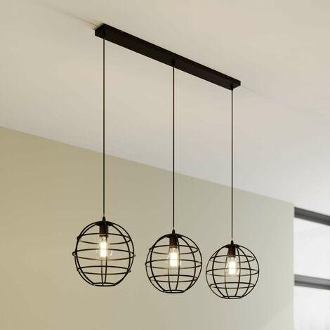 Bekira cage pendant light, three-bulb, linear