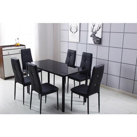BELA Ensemble table à manger + 6 chaises Noir