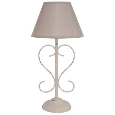BELCASTEL Lampe de chevet acier 18x18x39 cm - Taupe cérusé