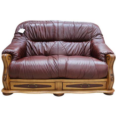 Belgium Storage Drawer Genuine Italian Leather 2 Seater Sofa Settee Wine