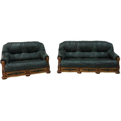 Belgium Storage Drawer Genuine Italian Leather 3+2 Sofa Suite Settee Green