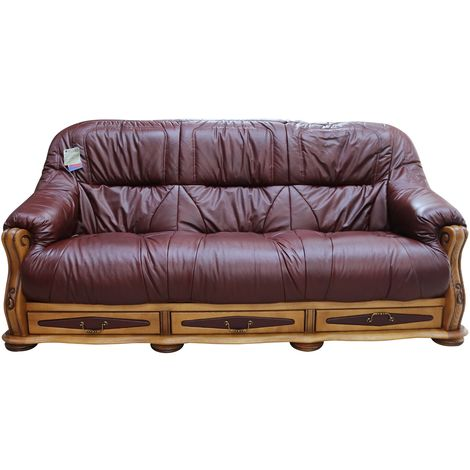 Belgium Storage Drawer Genuine Italian Leather 3 Seater Sofa Settee Wine