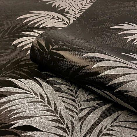 Belgravia Decor Aria Black Glitter Metallic Wallpaper