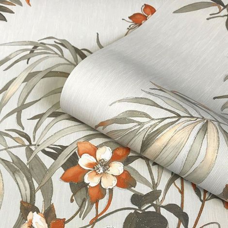 Belgravia Decor Botanique Orange/ Grey Wallpaper