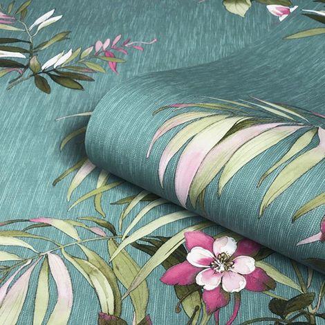 Belgravia Decor Botanique Teal/ Multi Wallpaper