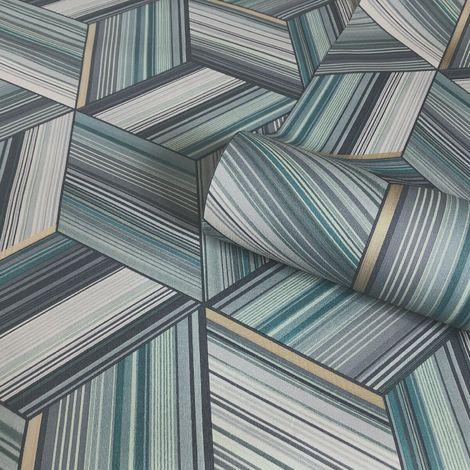 Belgravia Decor Hudson Teal Wallpaper