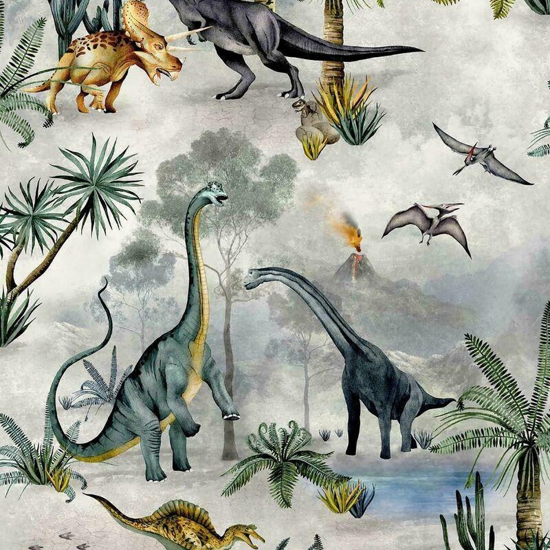 Image of Begravia Dino Kingdom Dinosaur Tropical Colour Green Multi Kids Wallpaper