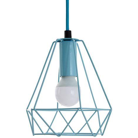 Beli Pendant Light, Metal Wire, Blue