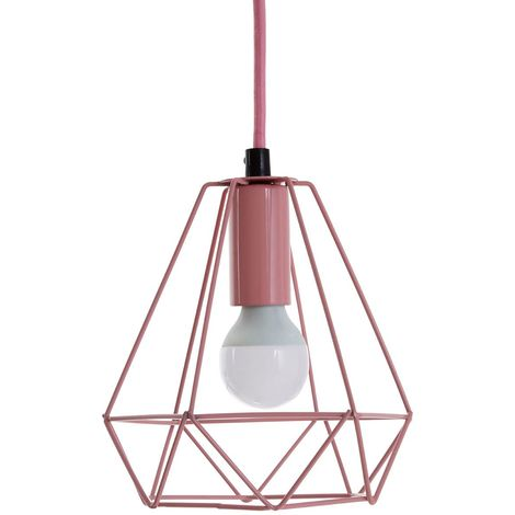 Beli Pendant Light, Metal Wire, Pink