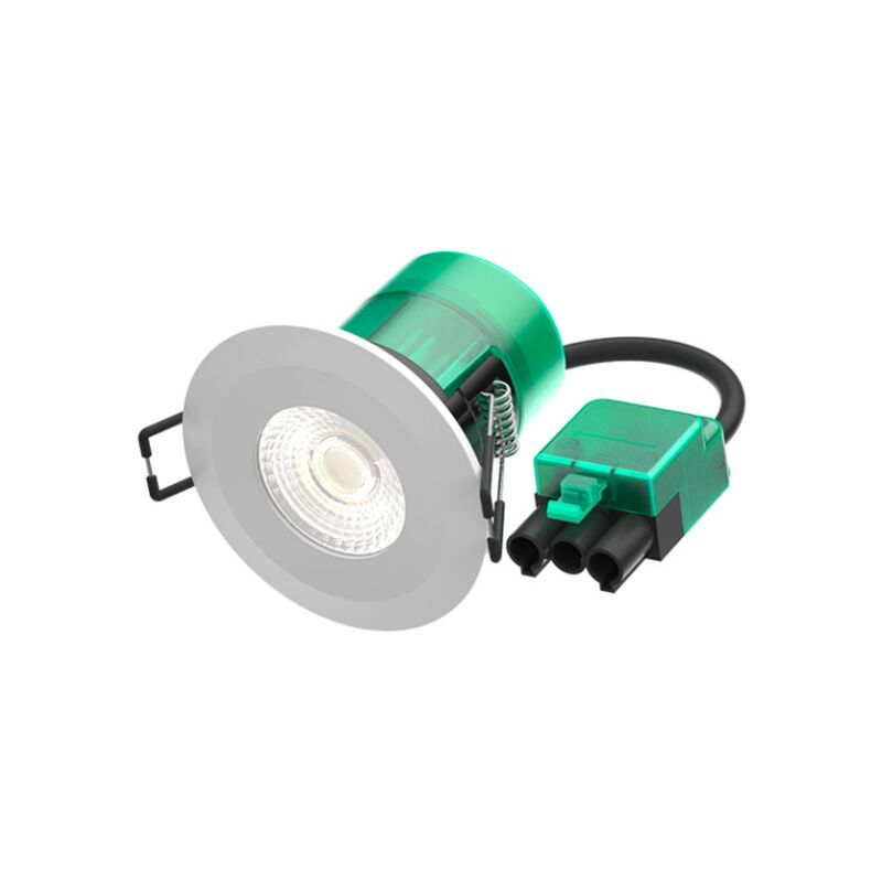 Image of 6W Firestay LED Integrated Fixed Downlight, Incl White & Satin Bezel - 4000K - Plug & Play Fitting - BL10501 - Bell