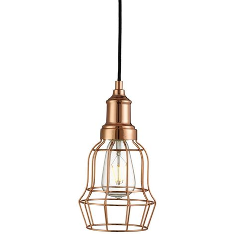 Bell cage 1 light copper cage pendant