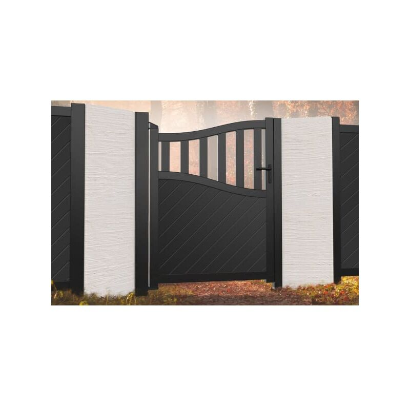 Image of Bell Curved Top with Medium Infill Pedestrian Gate 1000x1800mm Wood Effect
