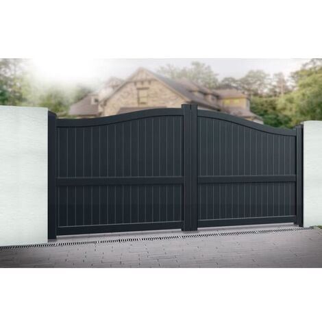 Bell Curved Top with Vertical Solid Infill Double Driveway Gate