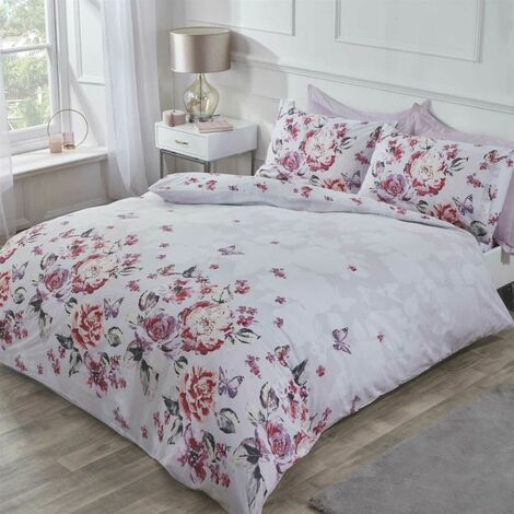 Bella Duvet Cover Set Floral Butterfly Bedding Double