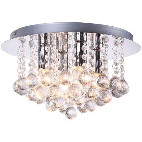 Bella Modern 4 Light Crystal Flush Ceiling Light In Chrome