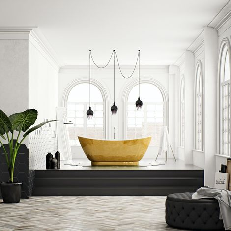 Belle de Louvain Galvez metallic effect freestanding bath
