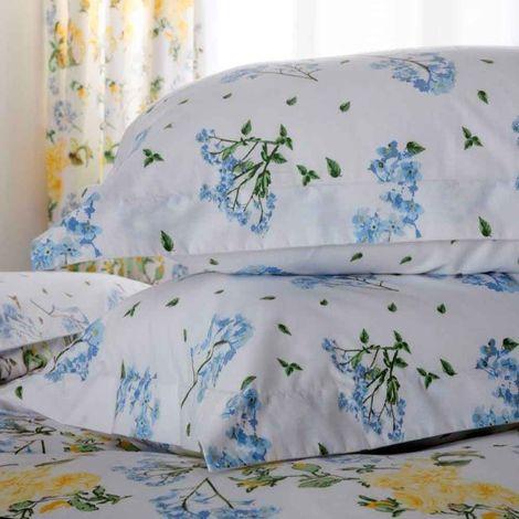 Belledorm Arabella Country Dream Pillowcase Pair (One Size) (White/Blue/Green)