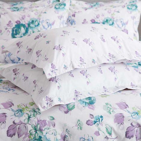 Belledorm Melody Pillowcase (Pair) (One Size) (White/Purple/Green)