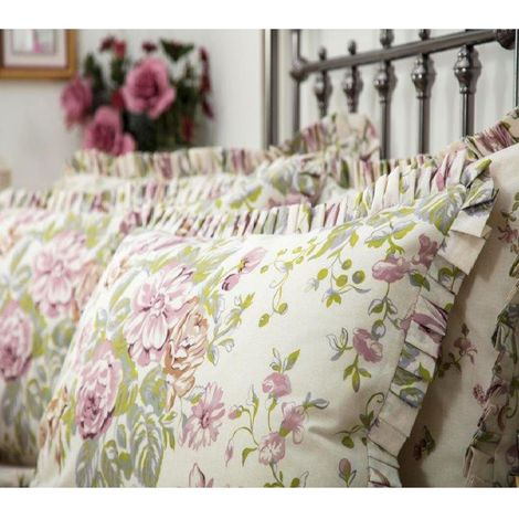 Belledorm Rose Boutique Pillowcase (Pair) (One Size) (Ivory/Pink/Green)