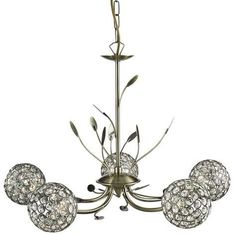 BELLIS II - 5 LIGHT CEILING PENDANT ANTIQUE BRASS WITH CLEAR GLASS DECO SHADES