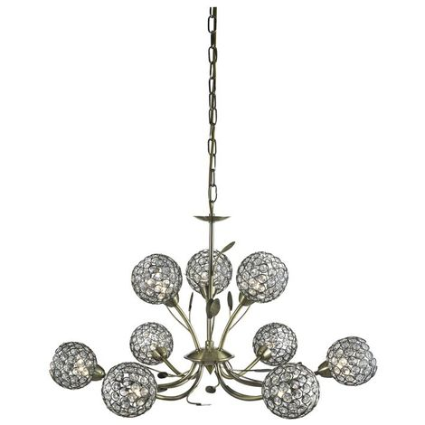 BELLIS II - 9 LIGHT CEILING PENDANT ANTIQUE BRASS WITH CLEAR GLASS DECO SHADES
