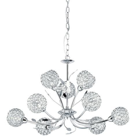 BELLIS II - 9 LIGHT CEILING PENDANT CHROME WITH CLEAR GLASS DECO SHADES
