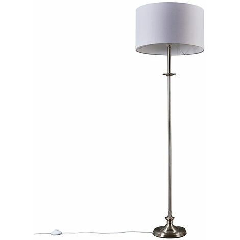 Belmont Brushed Chrome Floor Lamp With Extra Large Drum Shade - Beige