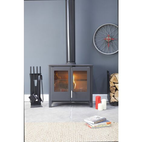 Beltane Midford Multi Fuel Large Stove Glass Window 10kW Black Fire Eco & Defra