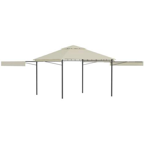 Belvédère avec double toits étendus 3x3x2,75 m Crème 180 g/m²