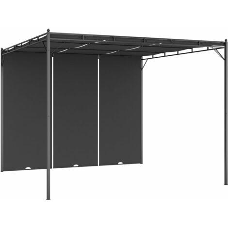 Belvédère de jardin avec rideau latéral 3x3x2,25 m Anthracite