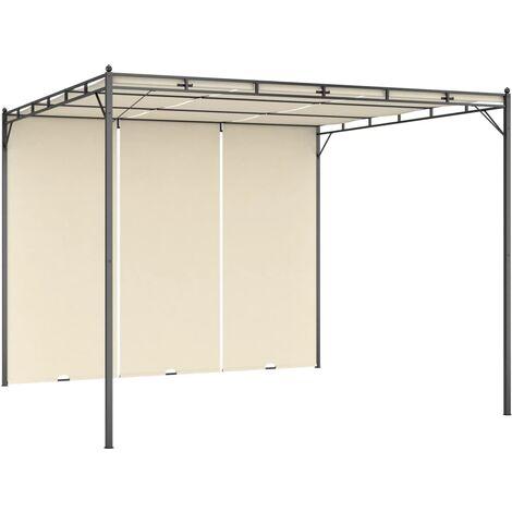 Belvédère de jardin avec rideau latéral 3x3x2,25 m Crème