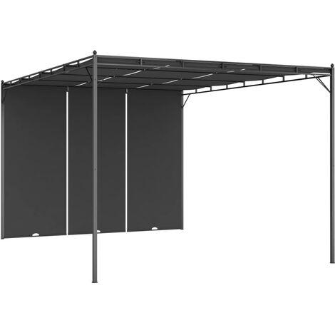 Belvédère de jardin avec rideau latéral 4x3x2,25 m Anthracite