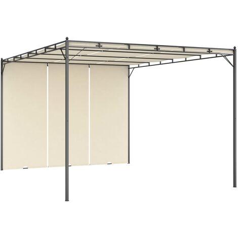 Belvédère de jardin avec rideau latéral 4x3x2,25 m Crème