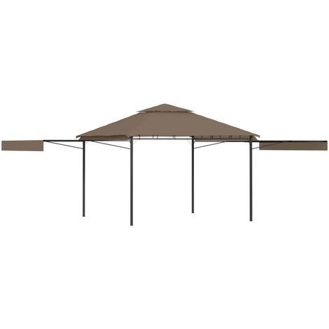 Belvédère et double toits étentus 3x3x2,75 m Taupe 180g/m²