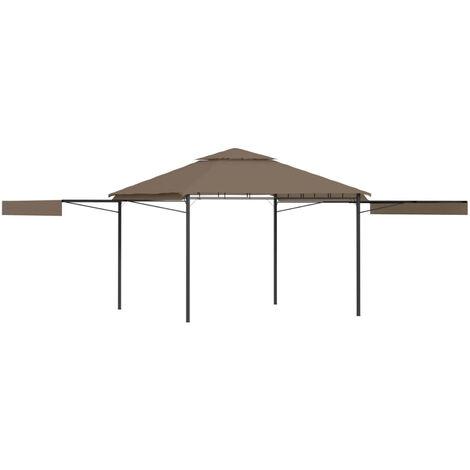 Belvedere et double toits etentus 3x3x2,75 m Taupe 180g/m2