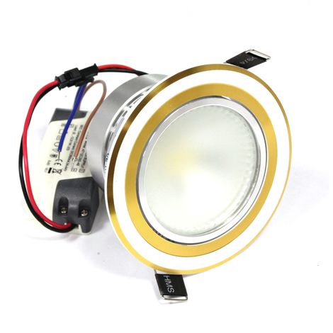 BeMatik - 10W LED Recessed Downlight white gold 95mm day COB10W