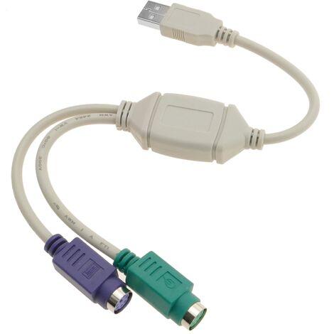 BeMatik - Adaptador USB a PS2 (1 USB-A macho a 2 MiniDIN 6-pin hembra)