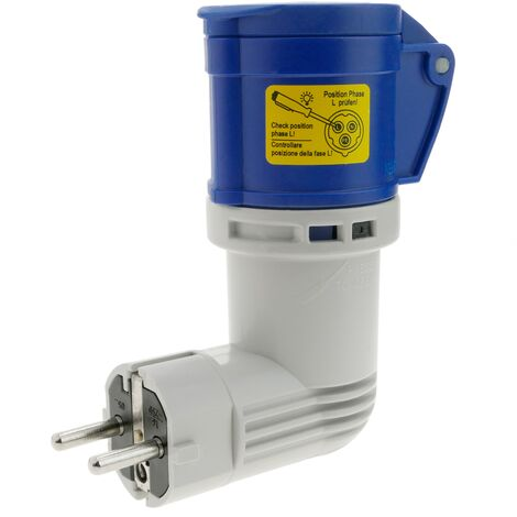 BeMatik - Adaptateur CEE plug femelle vers SCHUKO mâle 2P+T 16A 250V IP44 IEC-60309 angle droit