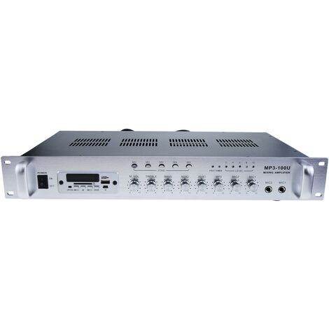 BeMatik - Amplificador para sonorización profesional de 100W 110V 5 zonas con MIC AUX FM MP3 rack
