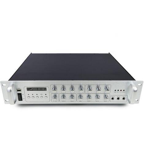BeMatik - Amplificador para sonorización profesional de 450W 110V 4 zonas con MIC AUX MP3 rack
