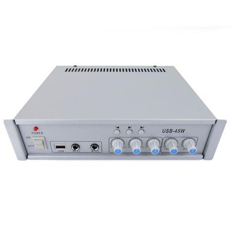 BeMatik - Amplificador para sonorización profesional de 45W 110V 1 zona con MIC AUX MP3