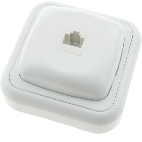 BeMatik - Base con toma de red RJ45 de superficie con marco 80x80mm de color blanco