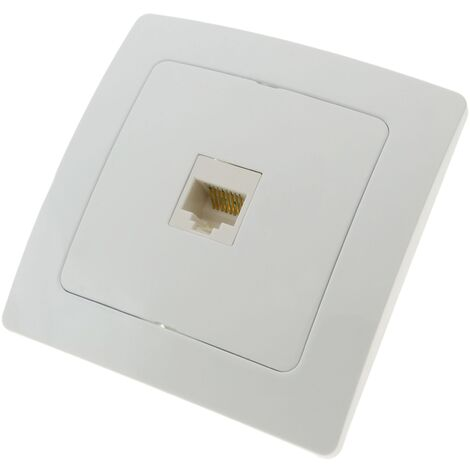 BeMatik - Base con toma de red RJ45 empotrable con marco 80x80mm serie Lille de color blanco